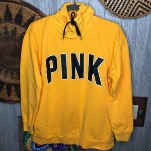 Pink yellow cowl neck sweater